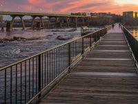 Sunset view on the T. Tyler Potterfield bridge, in Richmond, VA