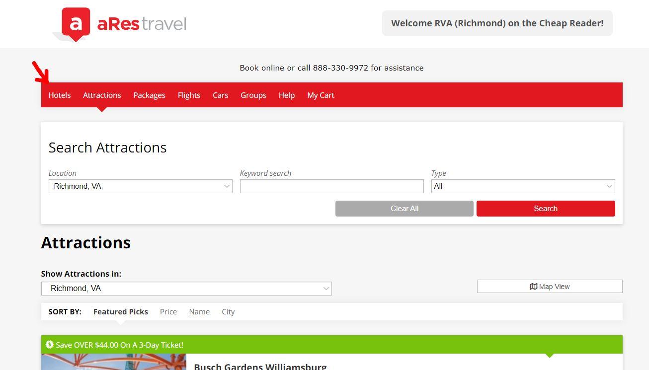 screenshot of attraction deals and hotel discounts in Richmond, VA